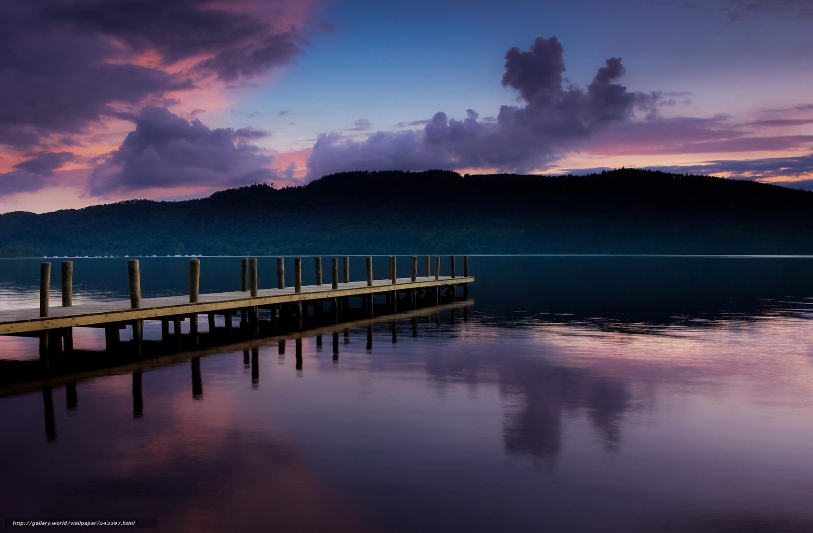 Скачать обои пирс,  закат,  озеро,  лес бесплатно для рабочего стола в разрешении 2048x1344 — картинка №543397