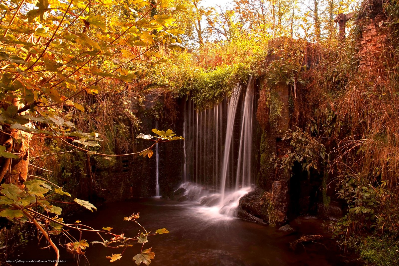 Download wallpaper waterfall,  autumn,  nature free desktop wallpaper in the resolution 2800x1867 — picture №543794