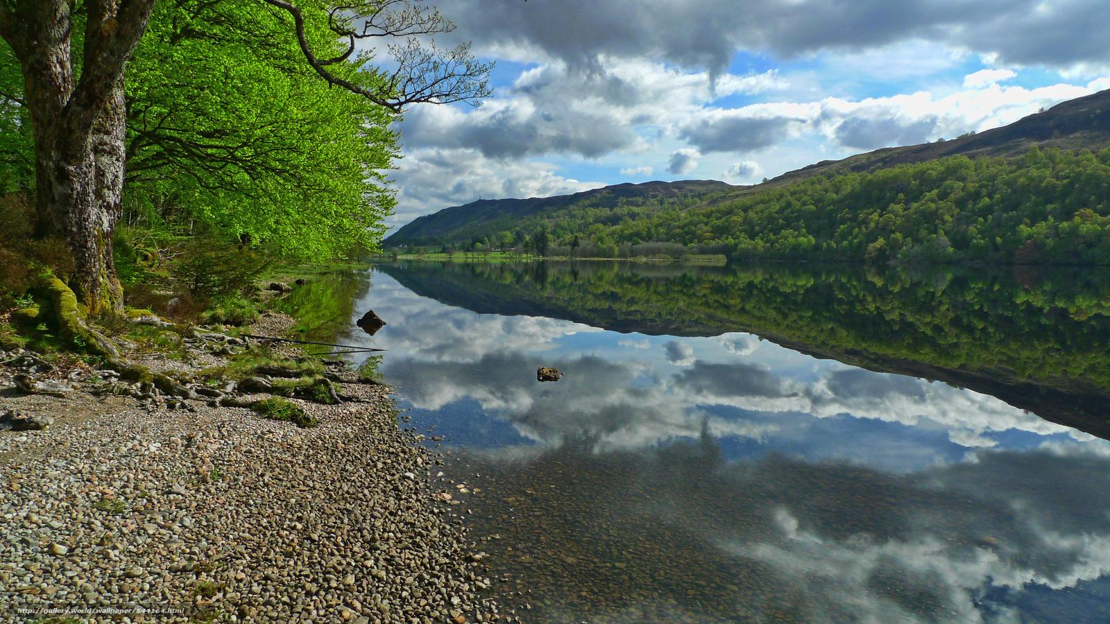 下载壁纸 苏格兰高地,  山,  河,  岸 免费为您的桌面分辨率的壁纸 3968x2232 — 图片 №544164