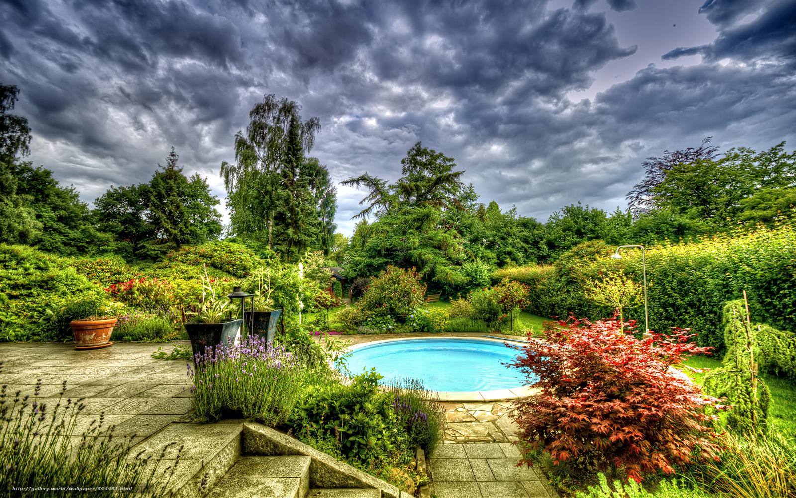 下载壁纸 花园,  水池,  树,  景观 免费为您的桌面分辨率的壁纸 2560x1600 — 图片 №544451
