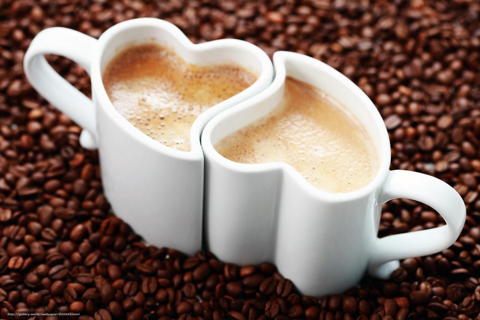Скачать обои kawa,  filiżanki,  serduszka,  dwa бесплатно для рабочего стола в разрешении 3072x2048 — картинка №545092