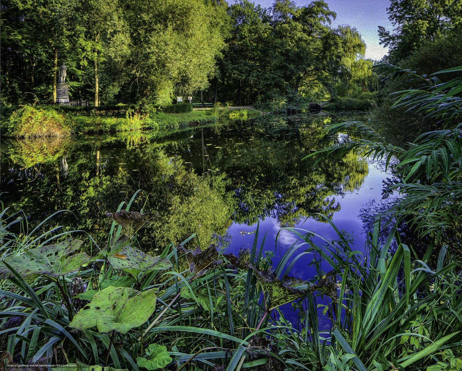 下载壁纸 公园,  池塘,  树,  植物 免费为您的桌面分辨率的壁纸 3675x2957 — 图片 №552370