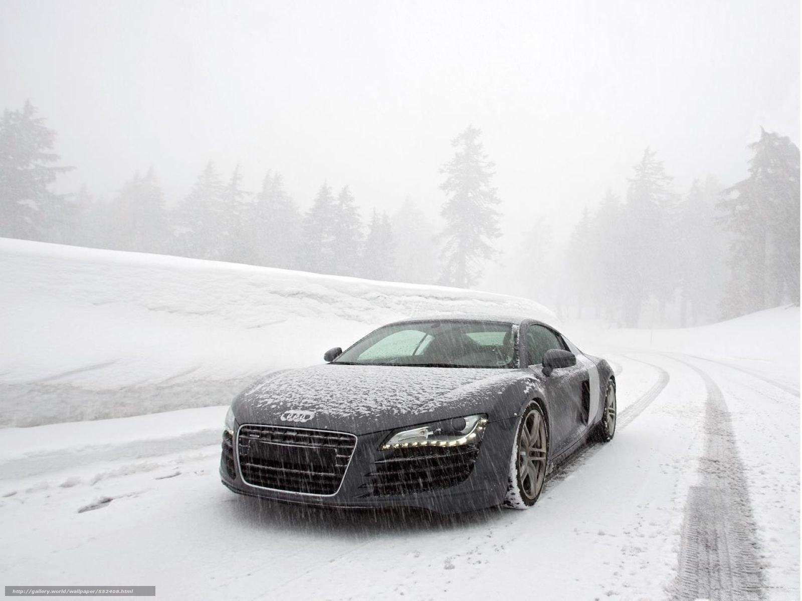Download Wallpaper Audi R8 Audi Snow Road Free Desktop