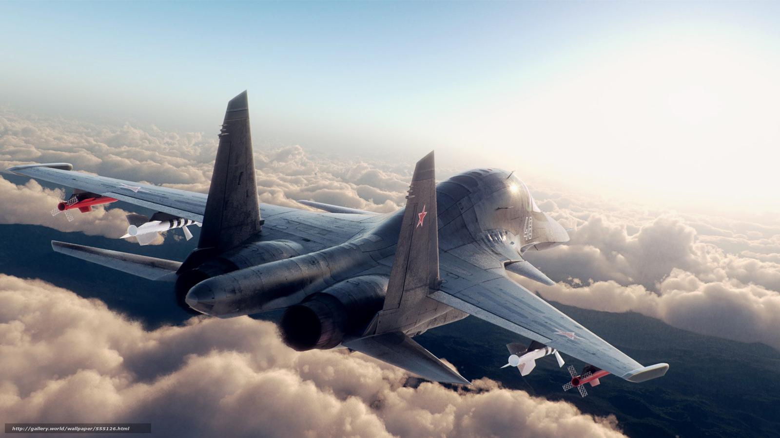 Скачать обои су-27,  самолет,  ракеты,  небо бесплатно для рабочего стола в разрешении 1920x1080 — картинка №555126