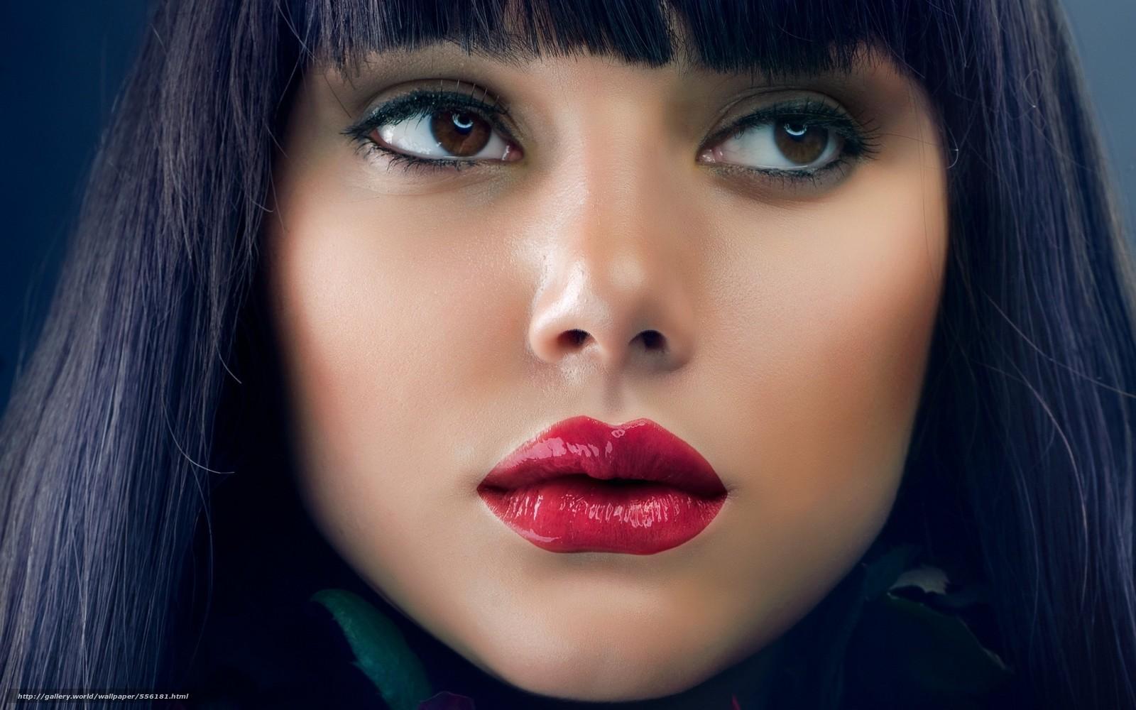 Скачать обои лицо,  портрет,  губы,  помада бесплатно для рабочего стола в разрешении 2560x1600 — картинка №556181