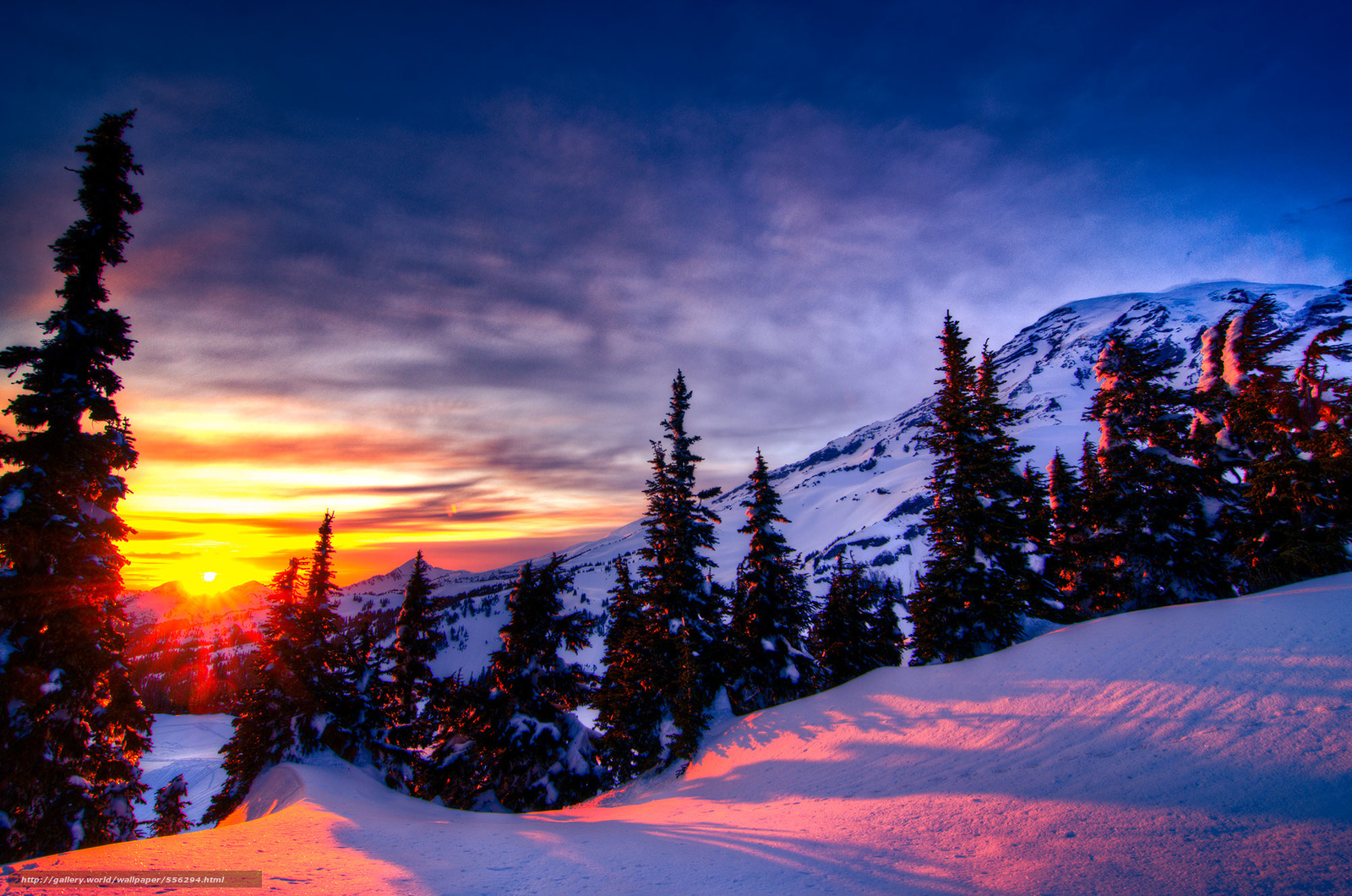 Download wallpaper sunset,  winter,  trees,  Mountains free desktop wallpaper in the resolution 2000x1325 — picture №556294