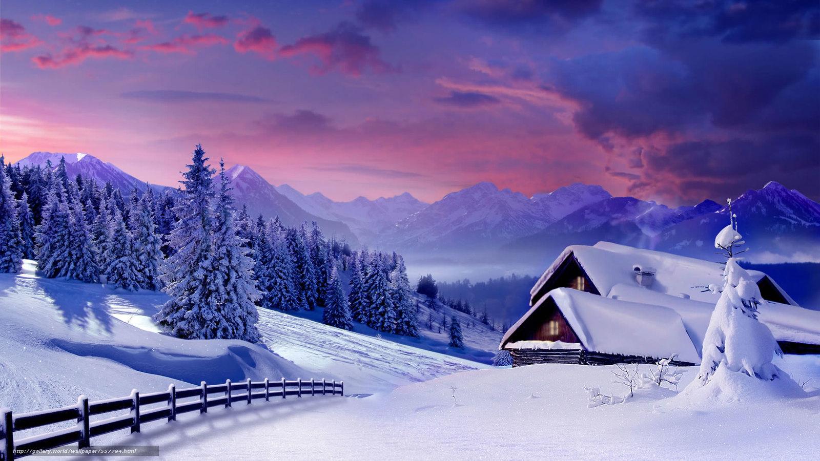 下载壁纸 冬天,  日落,  树,  家 免费为您的桌面分辨率的壁纸 1920x1080 — 图片 №557794
