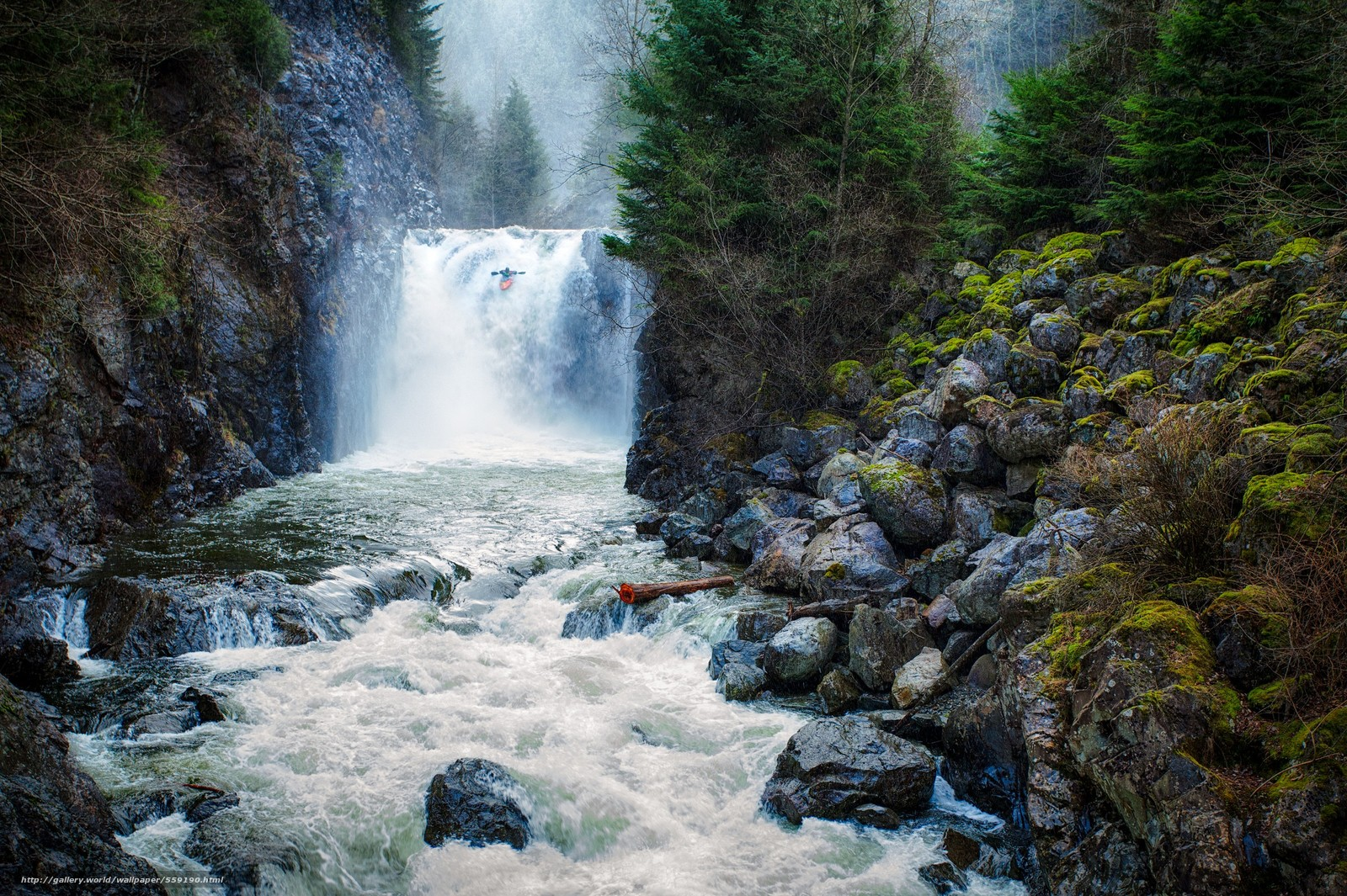 Скачать обои Водопад,  Вашингтон,  Байдарочники бесплатно для рабочего стола в разрешении 2400x1598 — картинка №559190