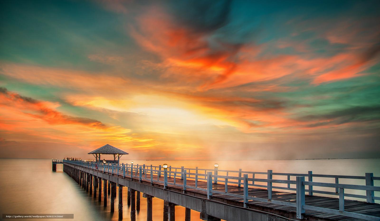 Descargar gratis mar,  naturaleza,  puente,  cielo Fondos de escritorio en la resolucin 2048x1196 — imagen №559214