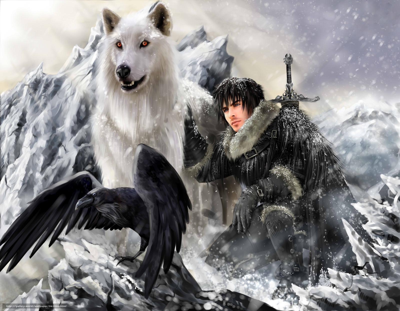 scaricare gli sfondi lupo,  guerriero,  raven,  fantasia Sfondi gratis per la risoluzione del desktop 6000x4667 — immagine №562080