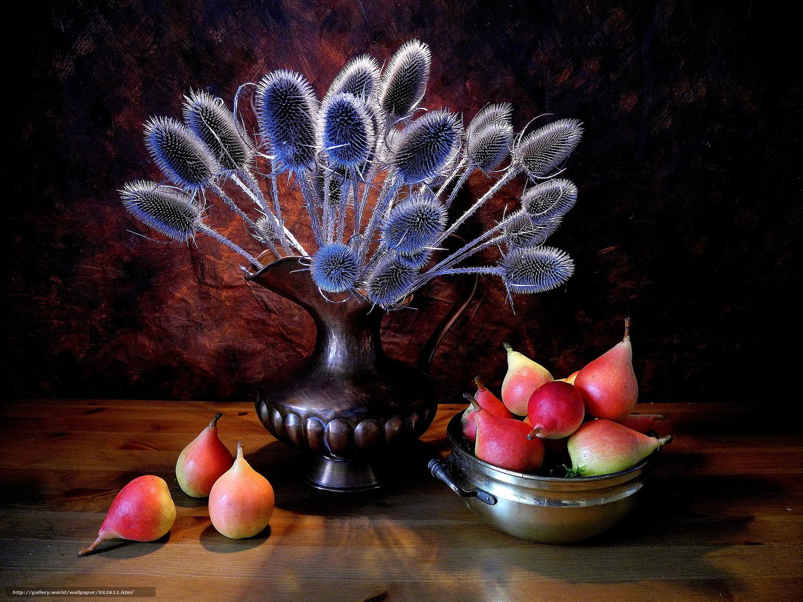 scaricare gli sfondi vaso,  piante,  pere,  ancora vita Sfondi gratis per la risoluzione del desktop 3264x2448 — immagine №562611
