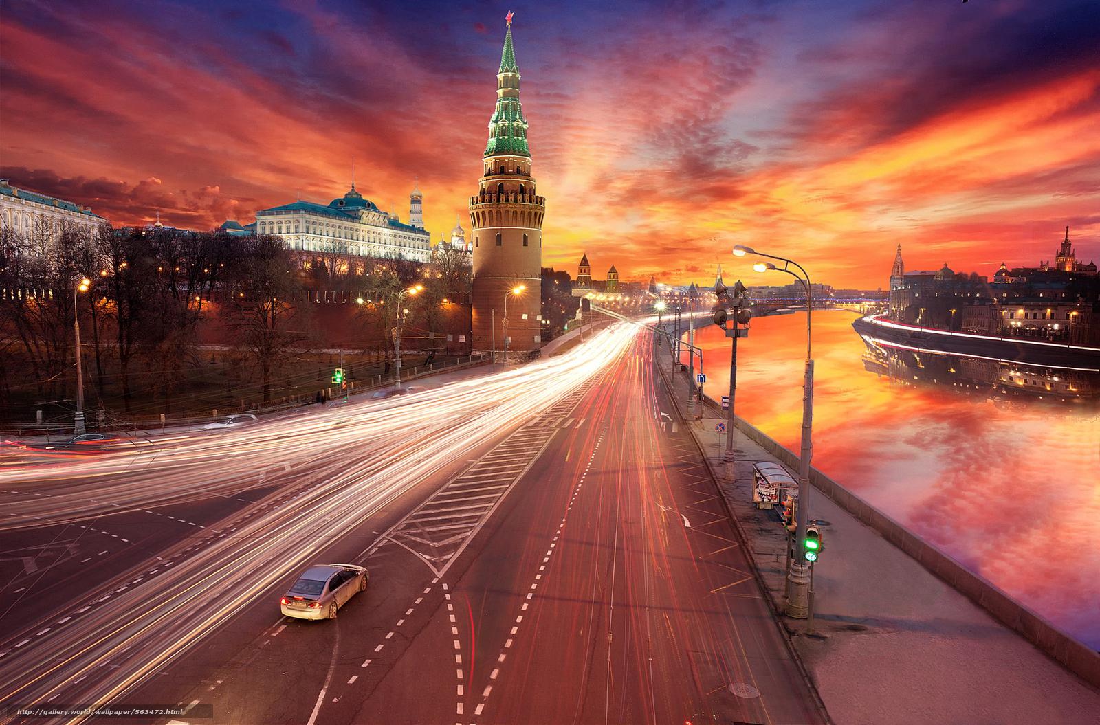 scaricare gli sfondi tramonto,  Mosca,  lavorazione,  Cremlino Sfondi gratis per la risoluzione del desktop 1920x1266 — immagine №563472