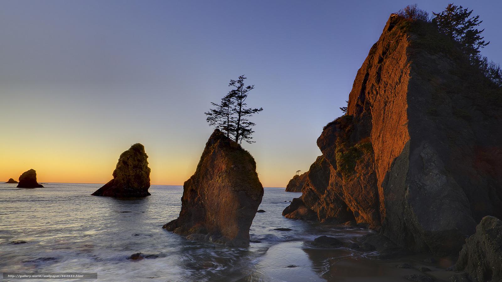 scaricare gli sfondi Parco nazionale di Olympic,  Washington,  tramonto,  mare Sfondi gratis per la risoluzione del desktop 1920x1080 — immagine №564933