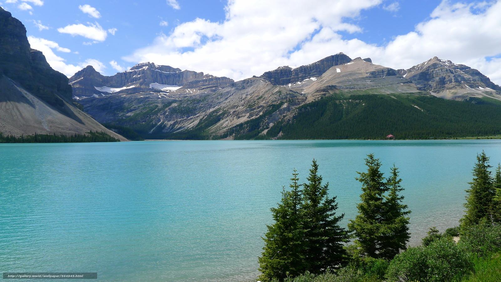 Скачать обои озеро,  горы,  деревья,  пейзаж бесплатно для рабочего стола в разрешении 3968x2232 — картинка №564945