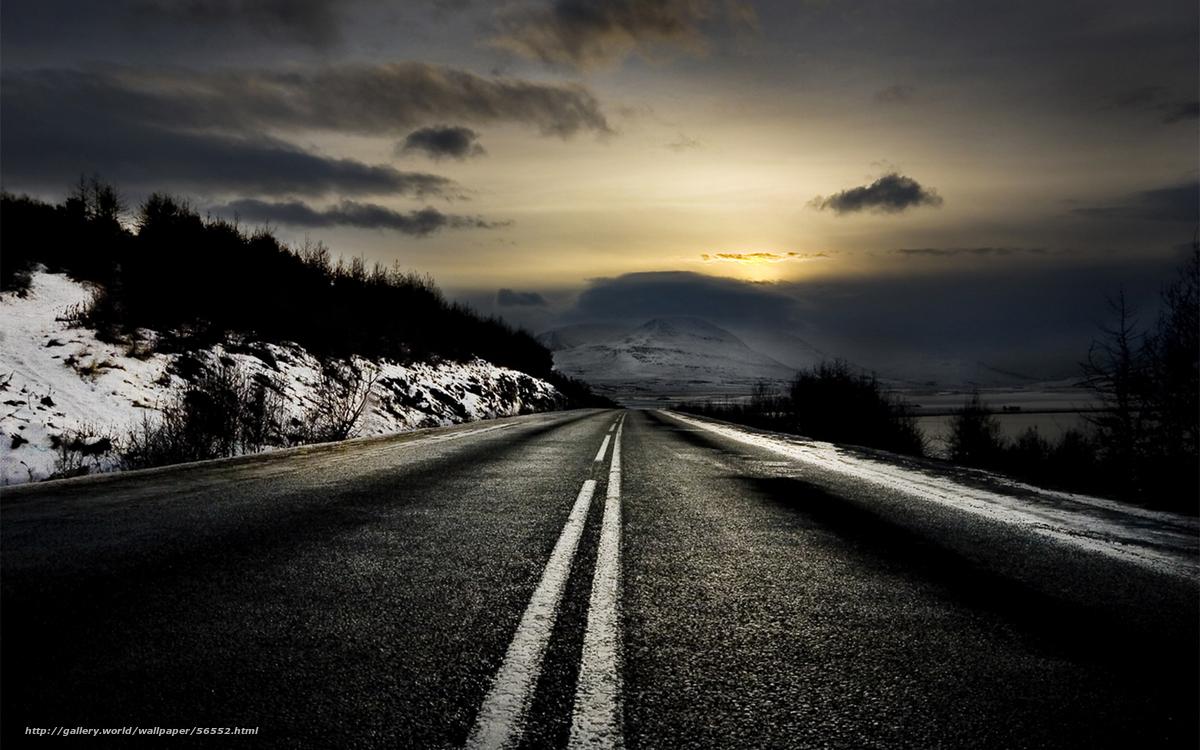Baixar Wallpaper estrada,  amanhecer,  inverno Papis de parede grtis na resoluo 1680x1050 — quadro №56552