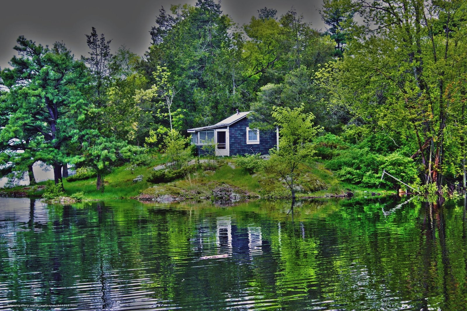 Download wallpaper lake,  forest,  cabin,  landscape free desktop wallpaper in the resolution 2800x1867 — picture №566280