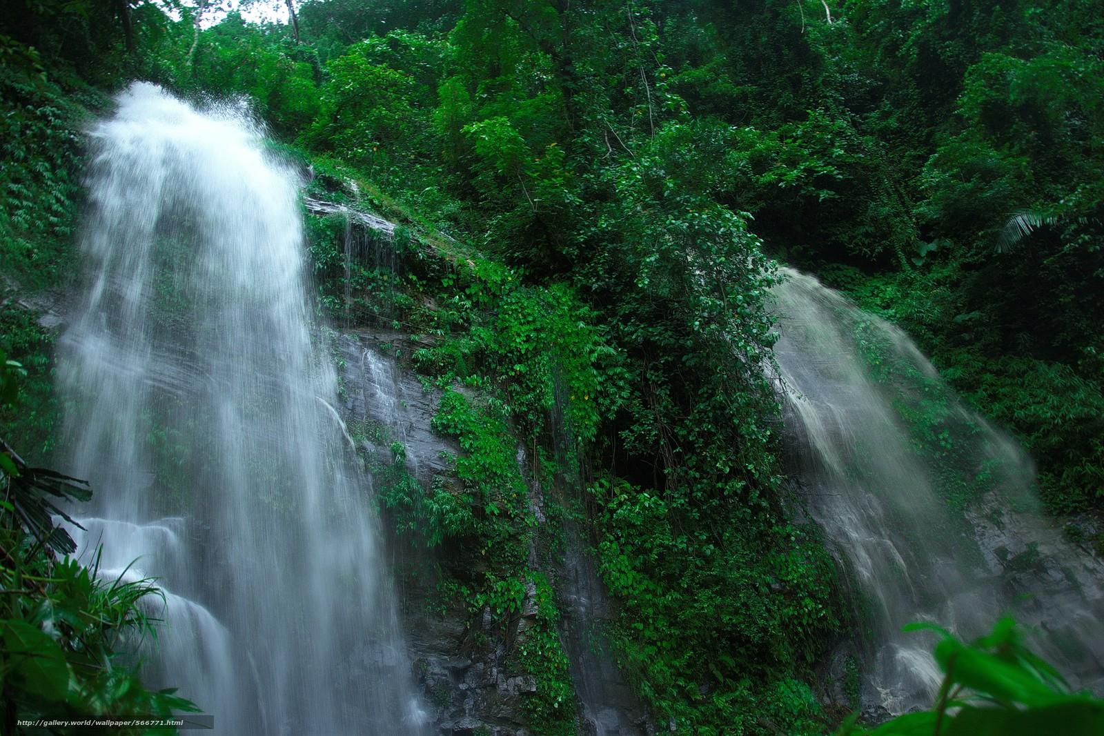 Download wallpaper rock,  waterfalls,  trees,  nature free desktop wallpaper in the resolution 4608x3072 — picture №566771
