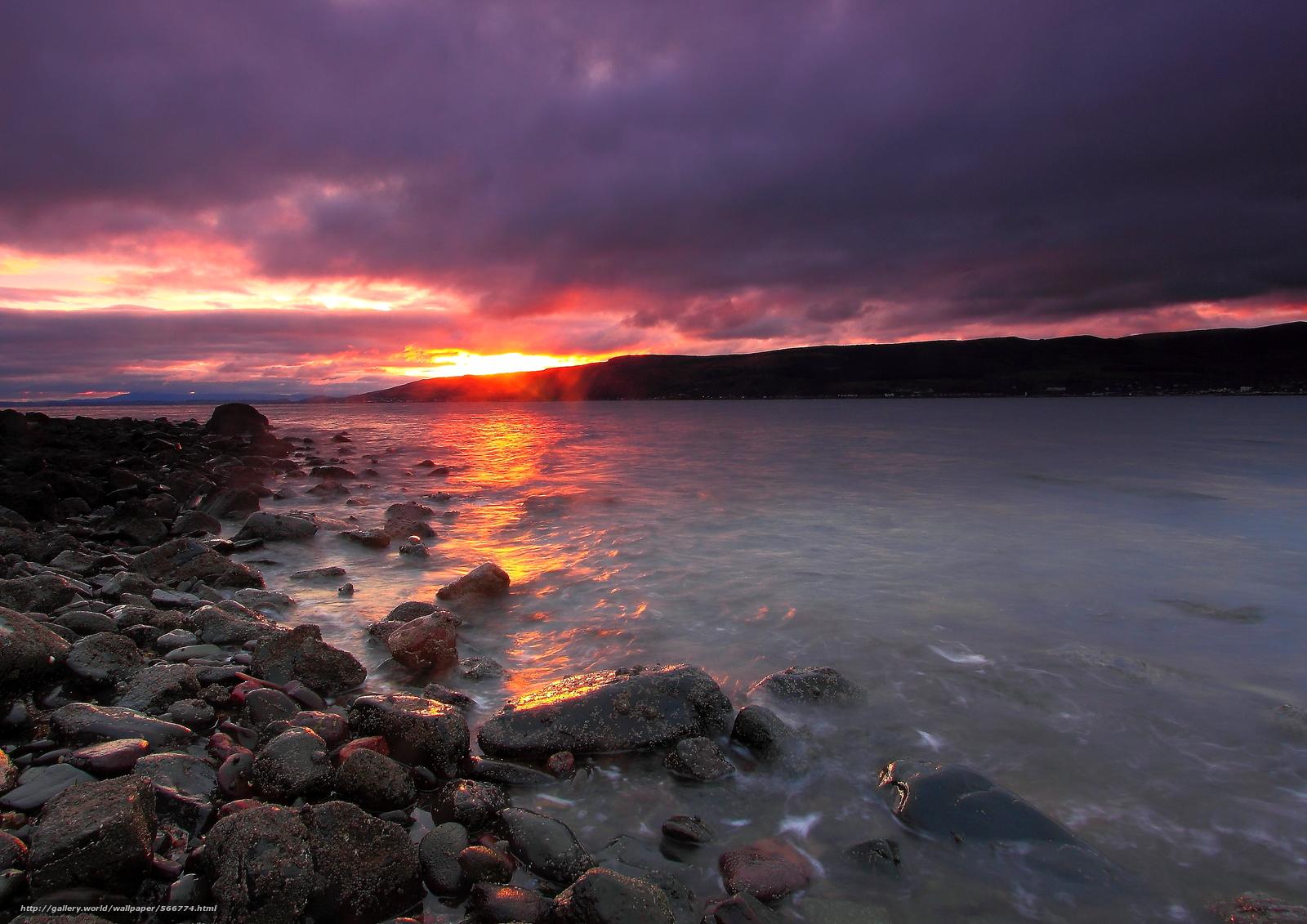 下载壁纸 日落,  湖,  岸,  石头 免费为您的桌面分辨率的壁纸 3562x2519 — 图片 №566774