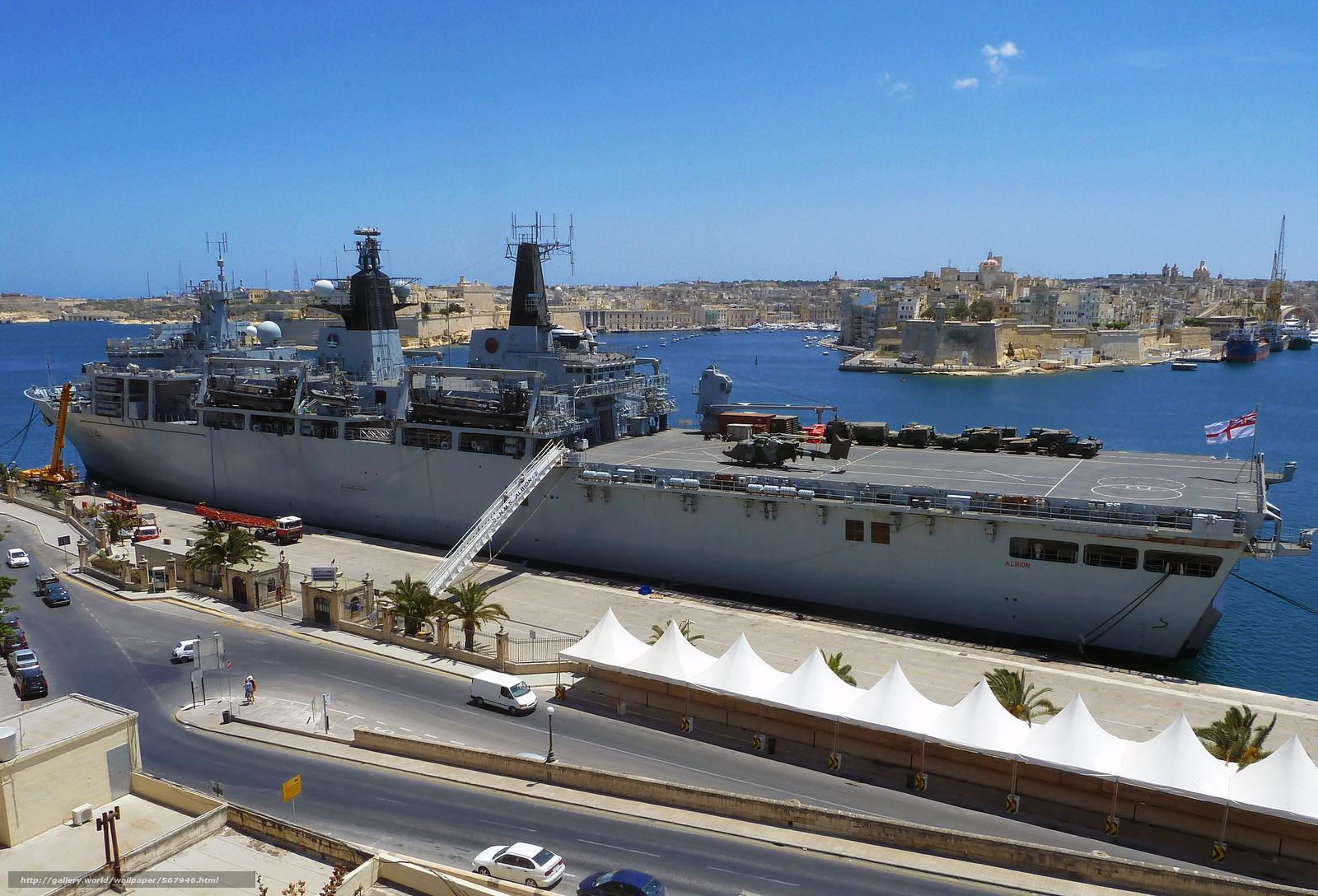 Download wallpaper Royal Naval landing platform Dock (LPD) ship,  HMS Albion,  Malta free desktop wallpaper in the resolution 2500x1700 — picture №567946