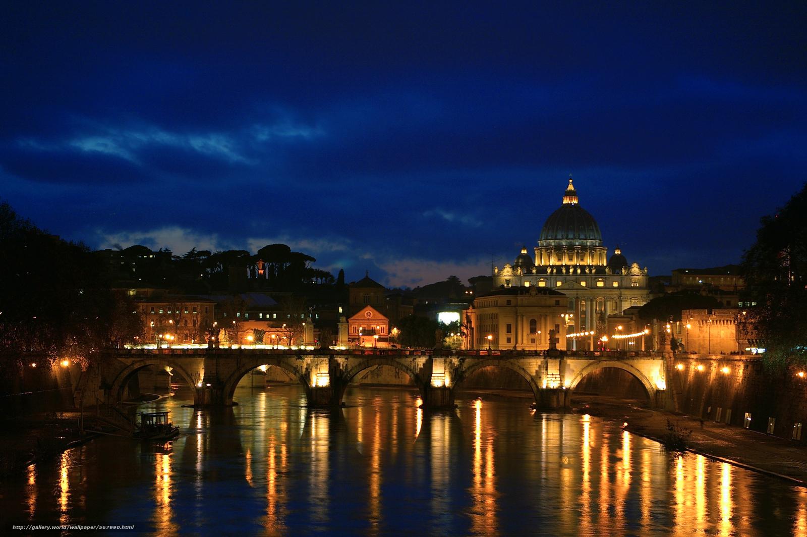 Scaricare Gli Sfondi Notte A Roma Veduta Del Tevere Da Ponte