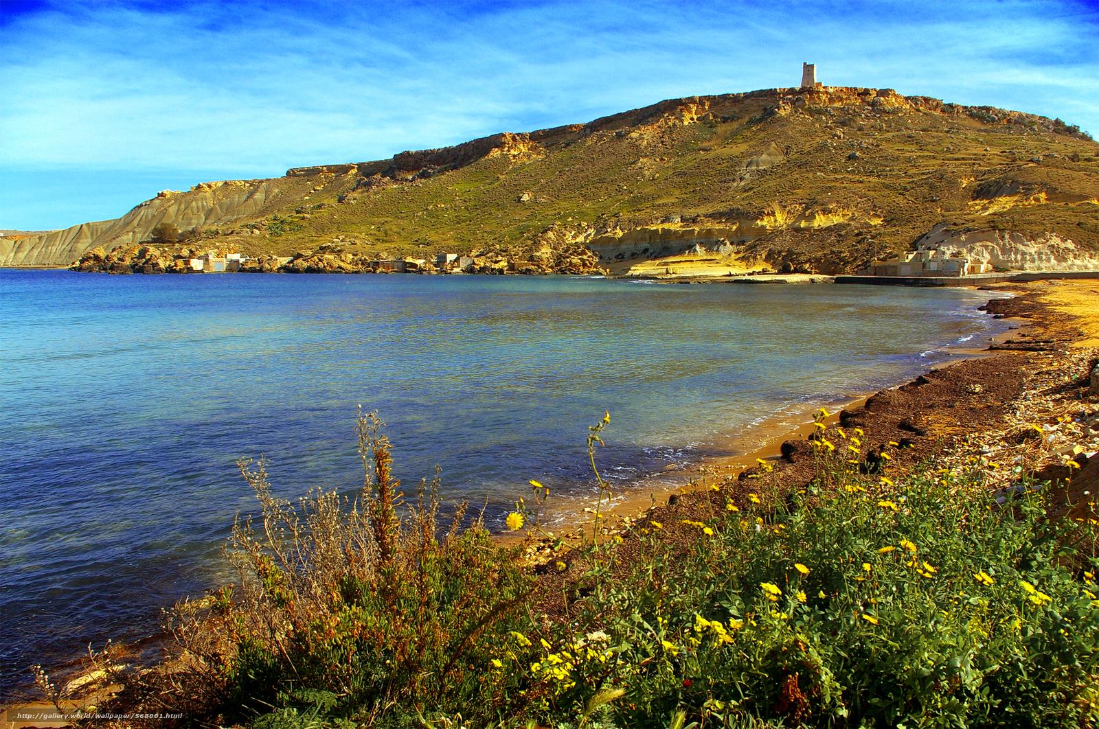 Download wallpaper Gnejna Bay,  Malta,  landscape free desktop wallpaper in the resolution 2000x1327 — picture №568001