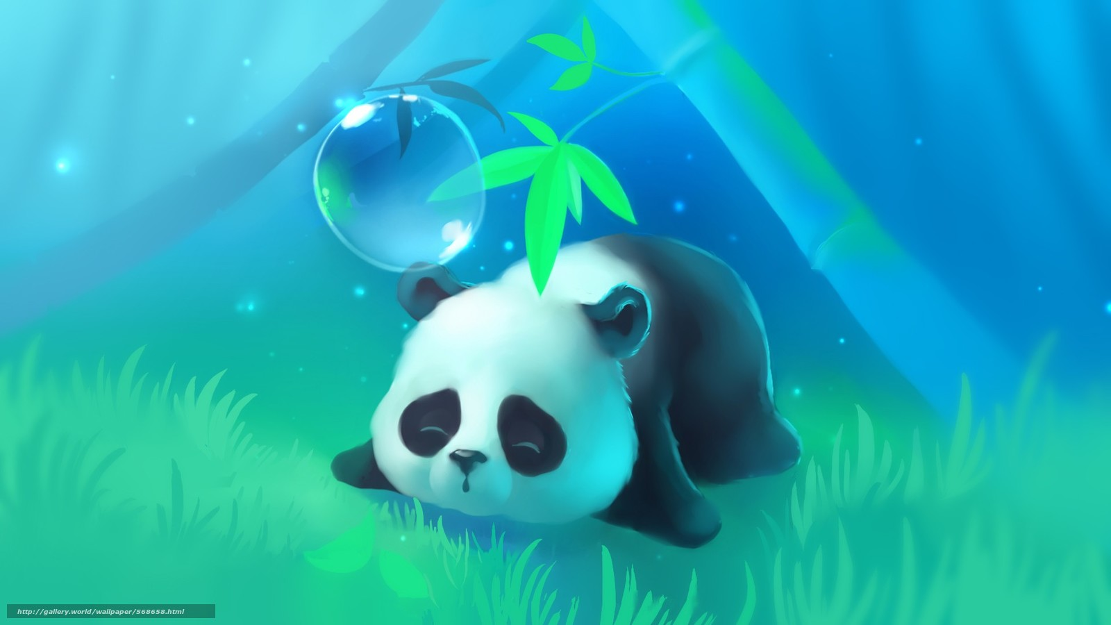scaricare gli sfondi albero,  panda,  posti letto,  erba Sfondi gratis per la risoluzione del desktop 1920x1080 — immagine №568658