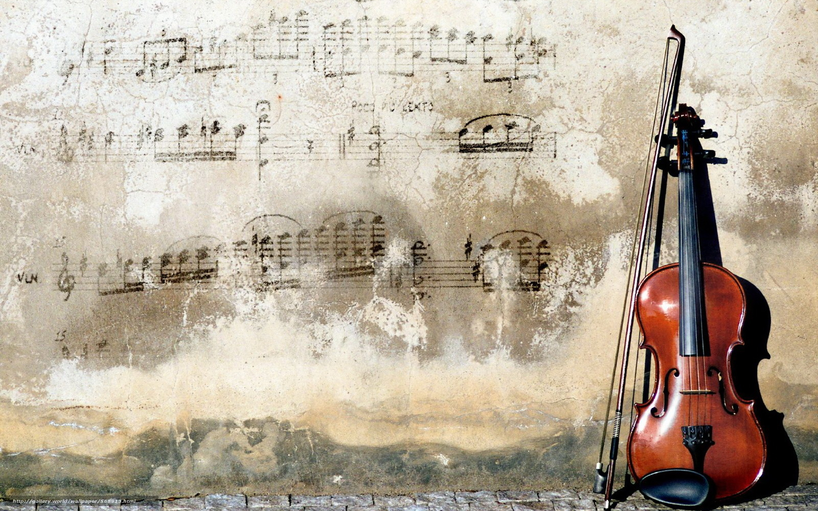 Download wallpaper Music,  music,  wall,  violin free desktop wallpaper in the resolution 1920x1200 — picture №568913