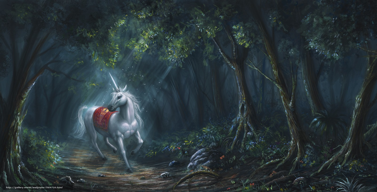 Download wallpaper Fantasy,  horse,  forest,  horn free desktop wallpaper in the resolution 4641x2362 — picture №569720