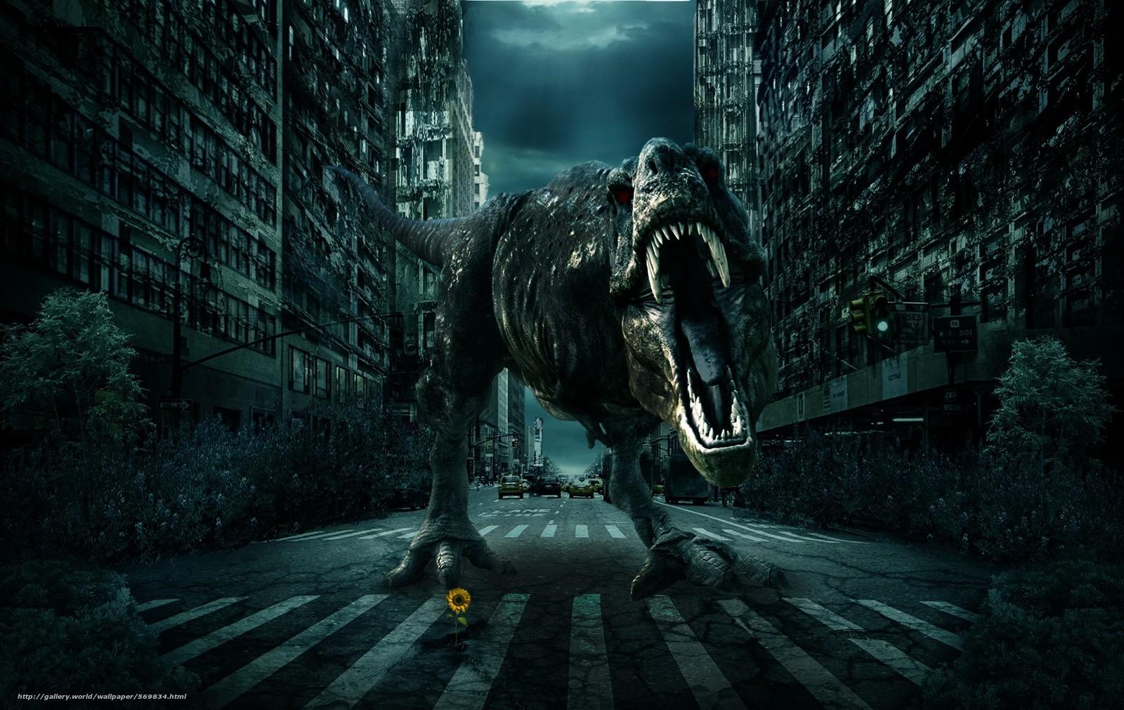 Скачать обои город,  дорога,  динозавр,  3d бесплатно для рабочего стола в разрешении 1900x1200 — картинка №569834