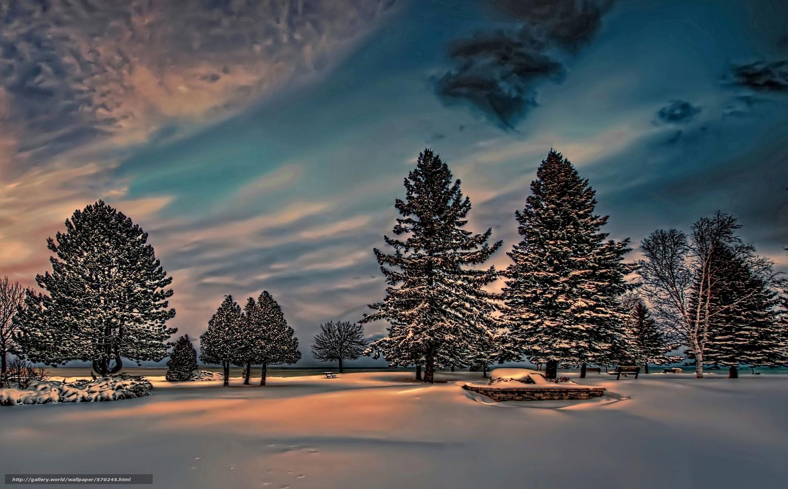 scaricare gli sfondi inverno,  nevicata,  crepuscolo,  abete rosso Sfondi gratis per la risoluzione del desktop 2048x1271 — immagine №570245