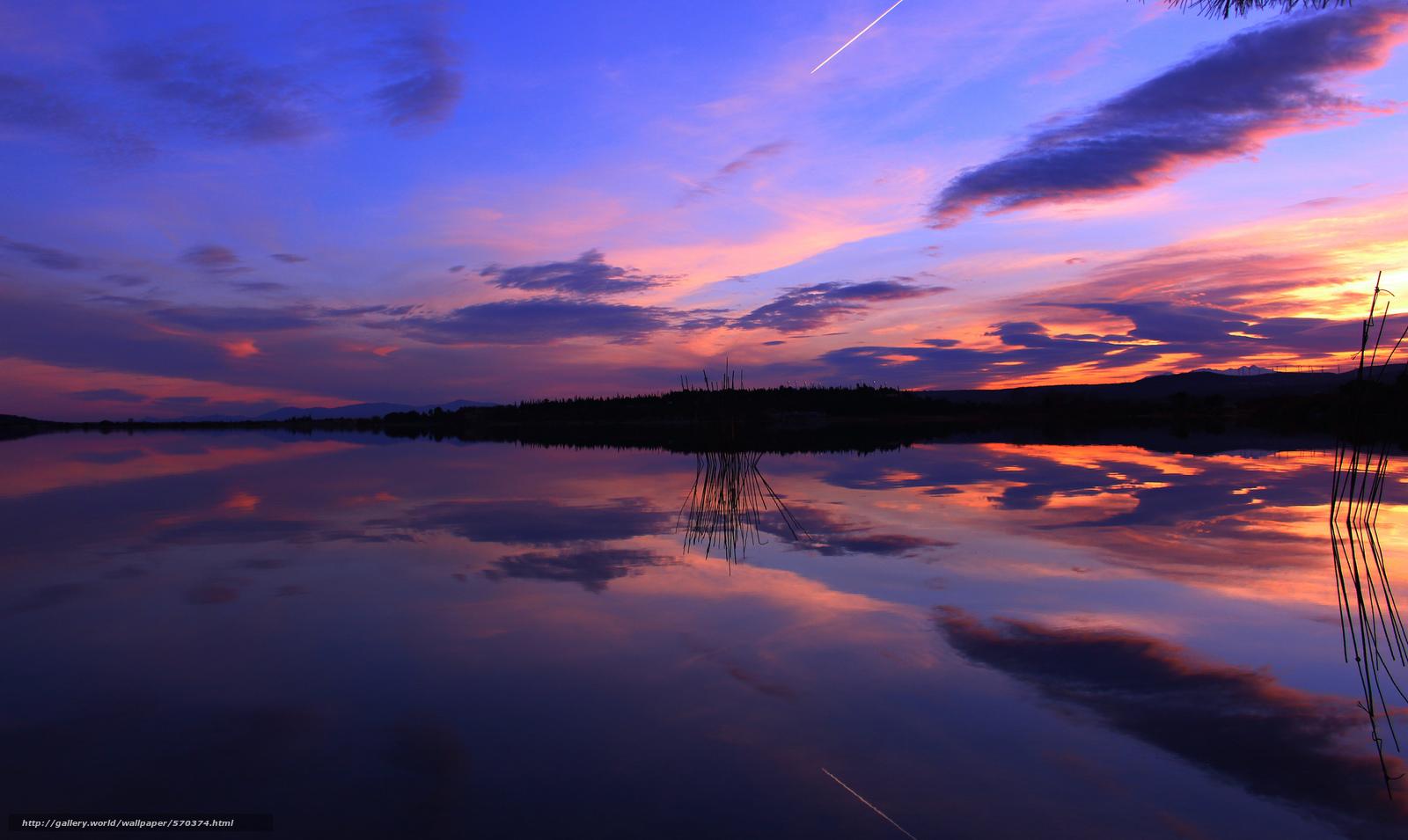 Скачать обои вечер,  отражение,  закат,  озеро бесплатно для рабочего стола в разрешении 2048x1222 — картинка №570374