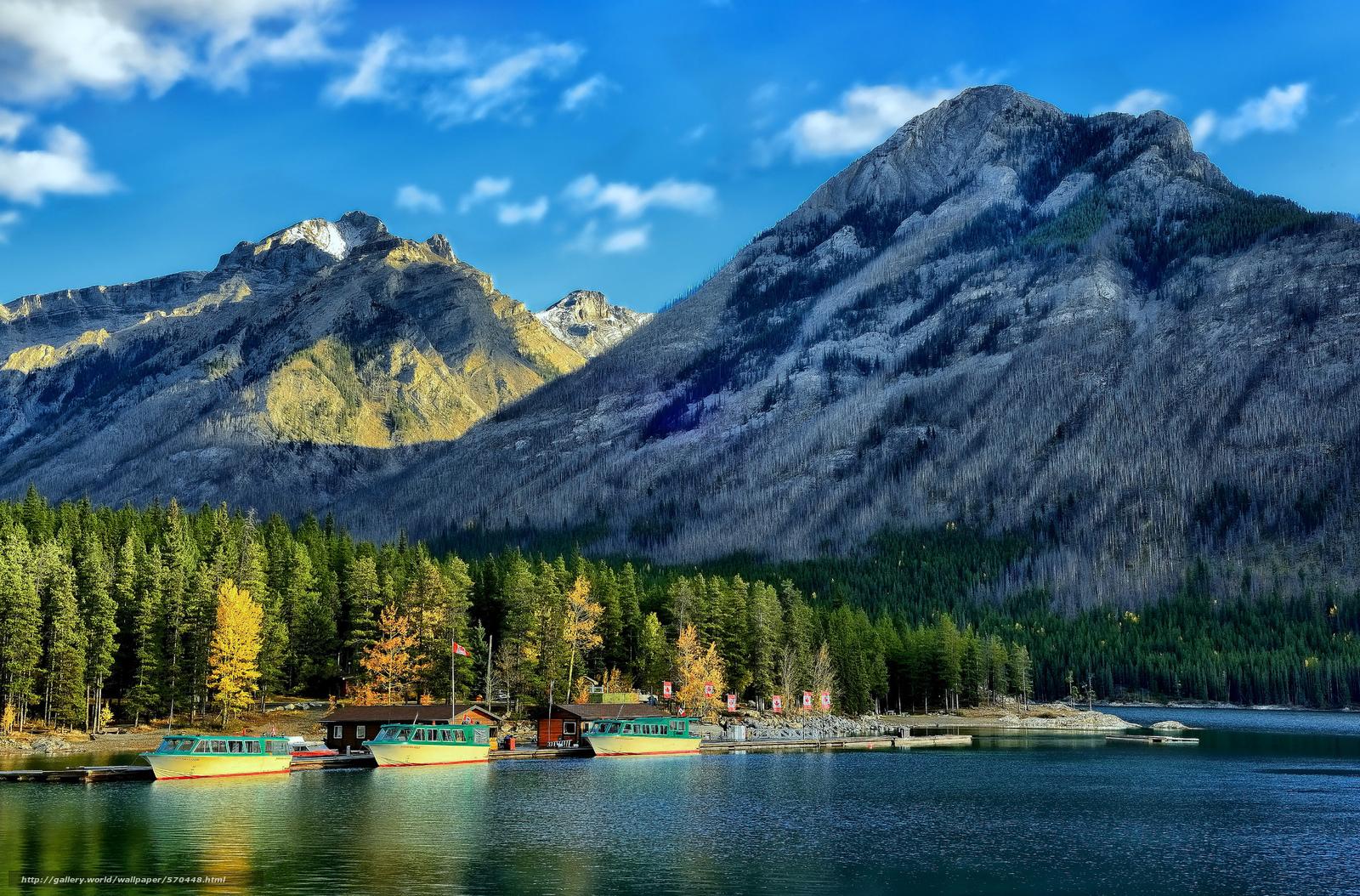 Скачать обои Канадские Скалистые горы,  Банф,  суда,  лес бесплатно для рабочего стола в разрешении 2048x1349 — картинка №570448