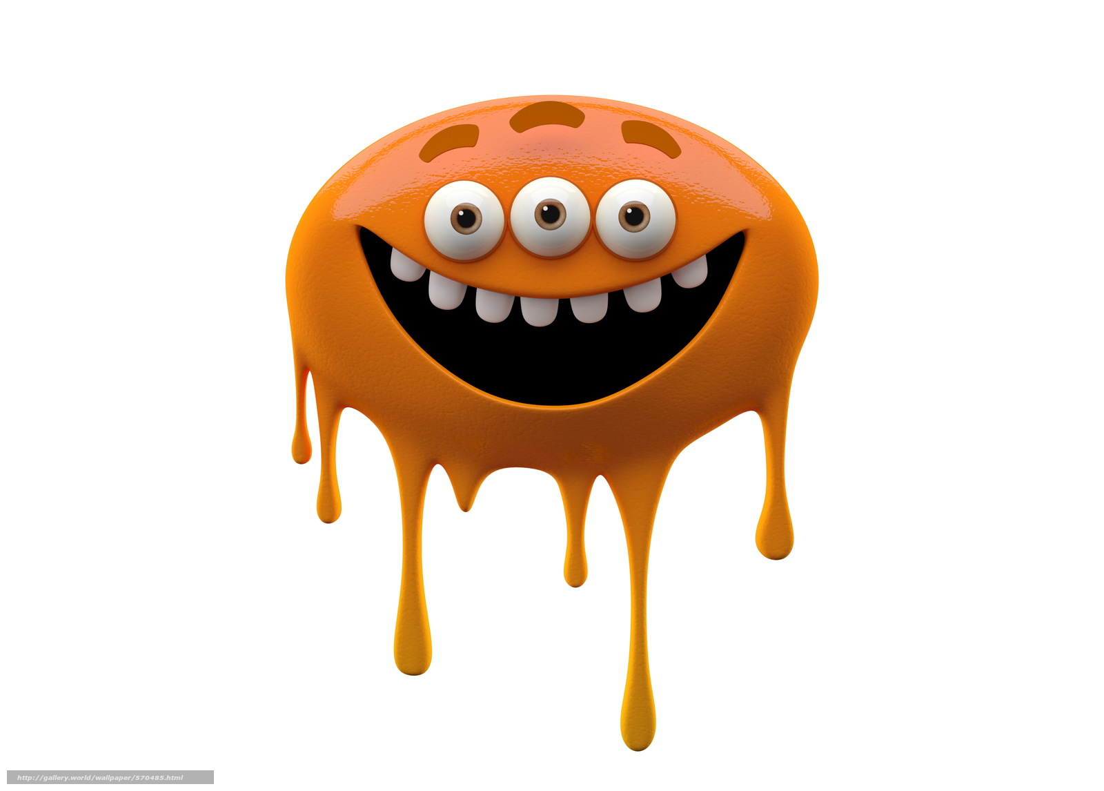 Download wallpaper bright smiling monster on white background,  orange monster slug,  joy free desktop wallpaper in the resolution 6282x4500 — picture №570485