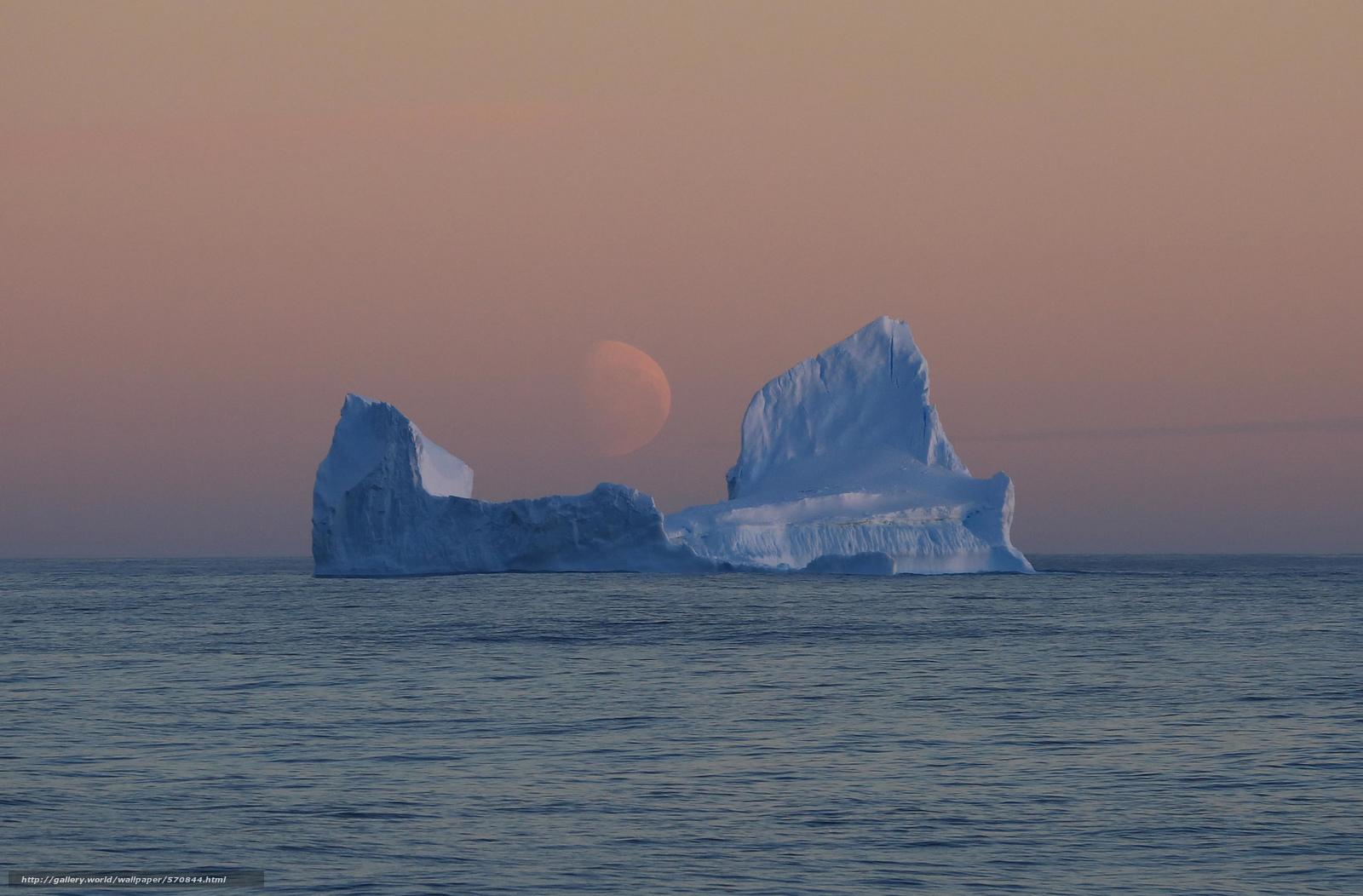 Скачать обои тихоокеанский сектор Южного океана,  море Росса,  Антарктида,  бледная луна бесплатно для рабочего стола в разрешении 2048x1346 — картинка №570844