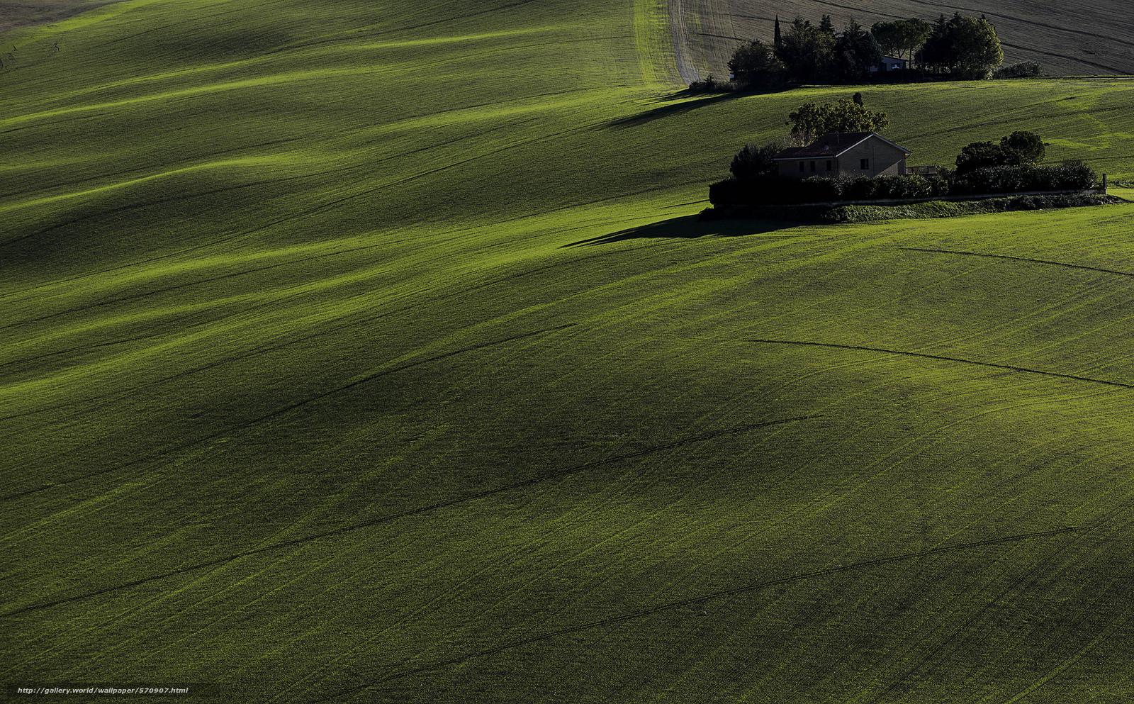 Скачать обои деревья,  поля,  зелень,  дома бесплатно для рабочего стола в разрешении 2048x1271 — картинка №570907