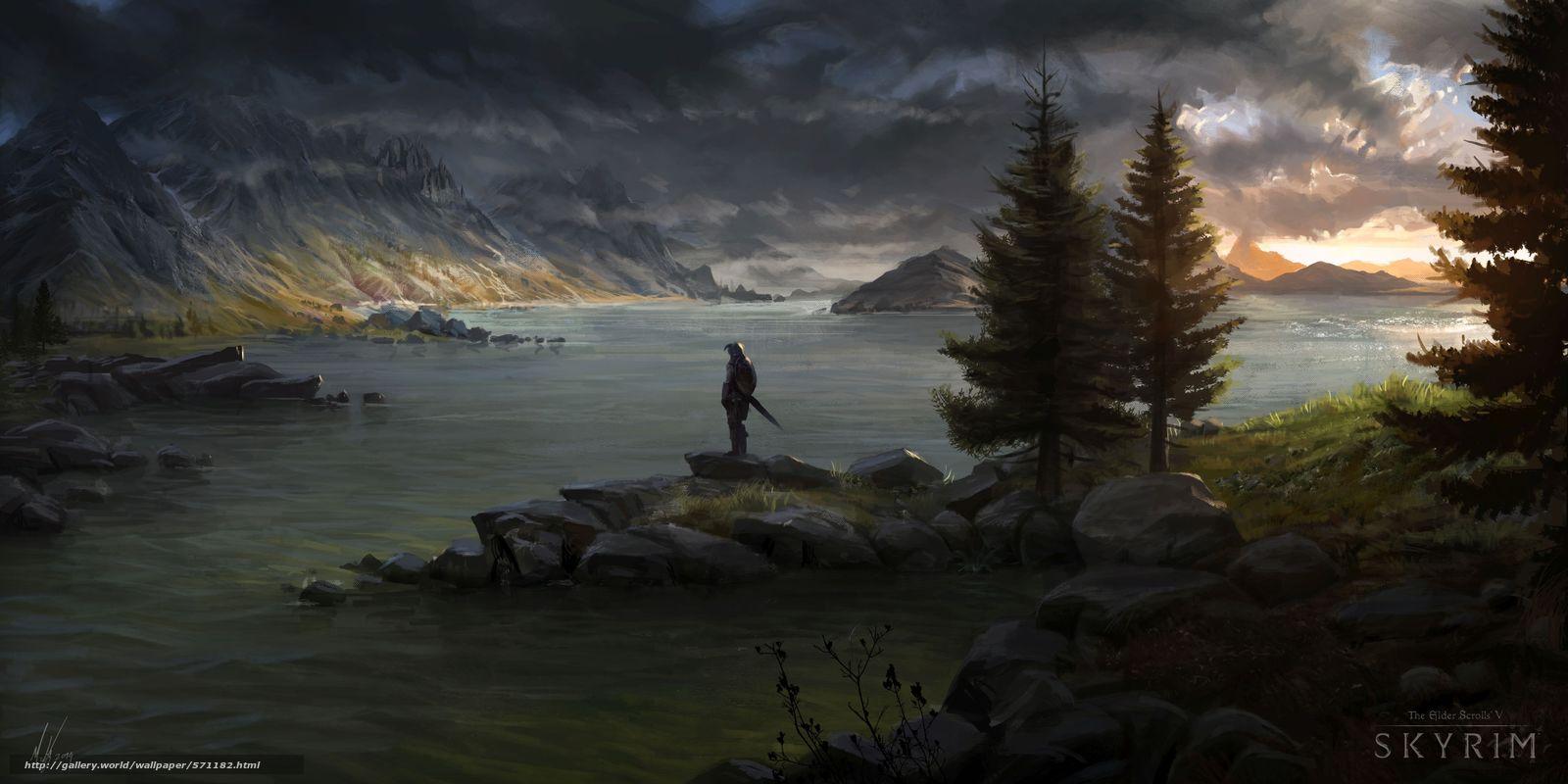 scaricare gli sfondi spada,  scudo,  crepuscolo,  fiume Sfondi gratis per la risoluzione del desktop 5280x2640 — immagine №571182