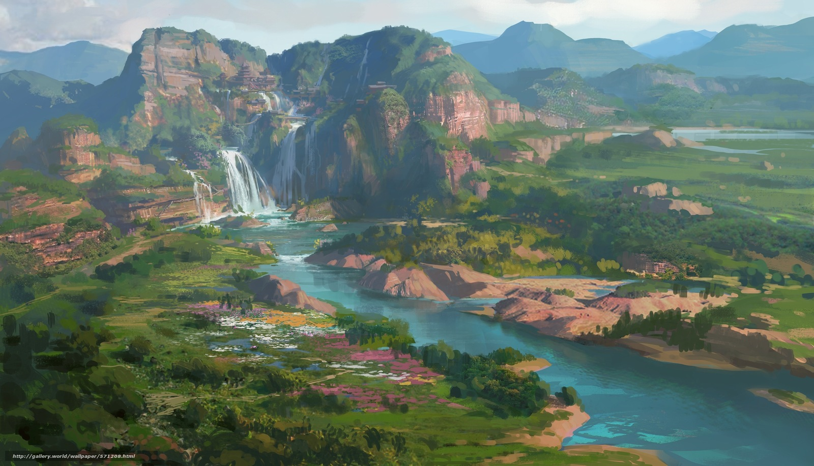 Download wallpaper painted landscape, waterfall, Hills, Art free desktop wallpaper in the resolution 3000x1718 — picture №571208