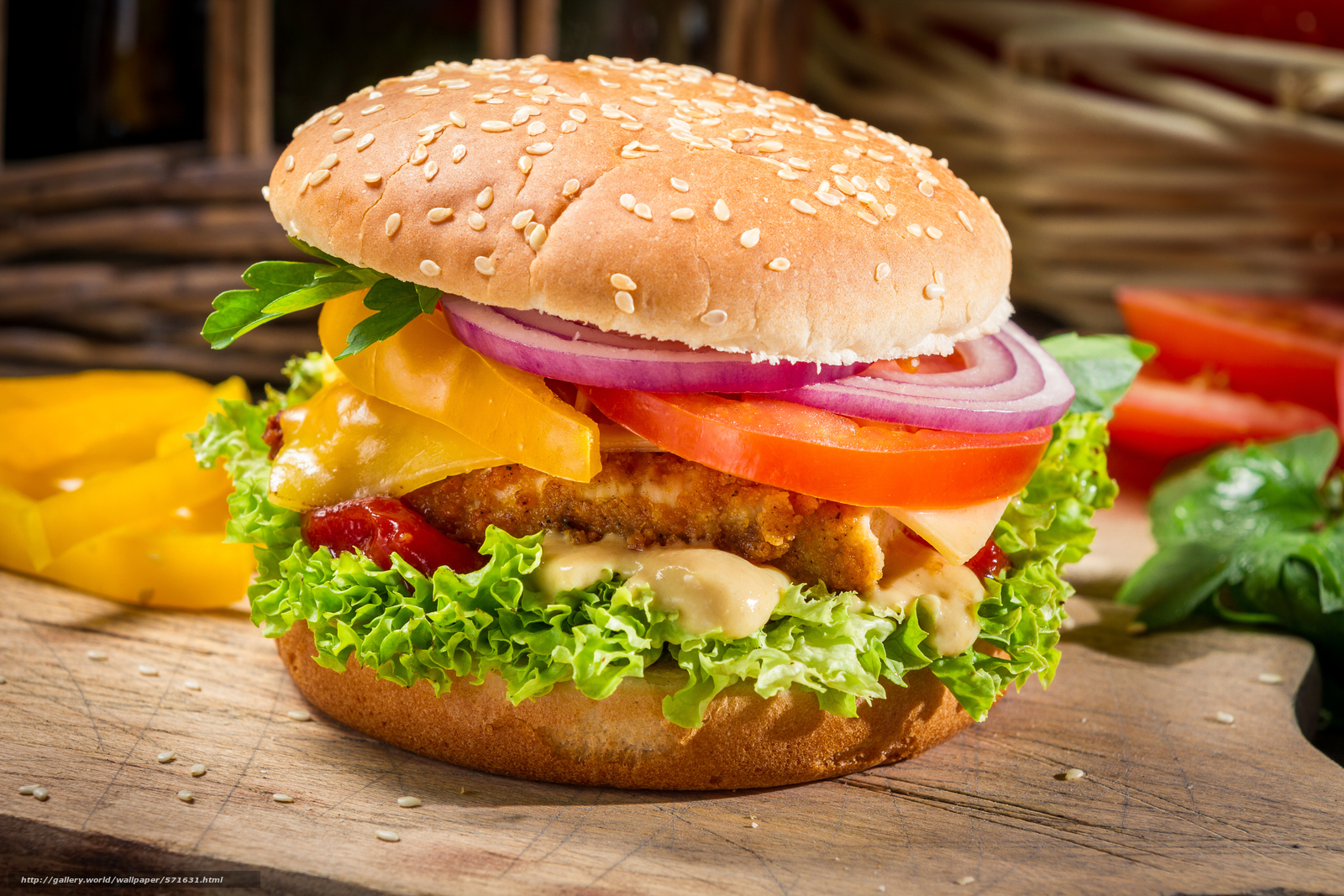 Download wallpaper cheese,  tomatoes,  hamburger,  roll free desktop wallpaper in the resolution 5184x3456 — picture №571631