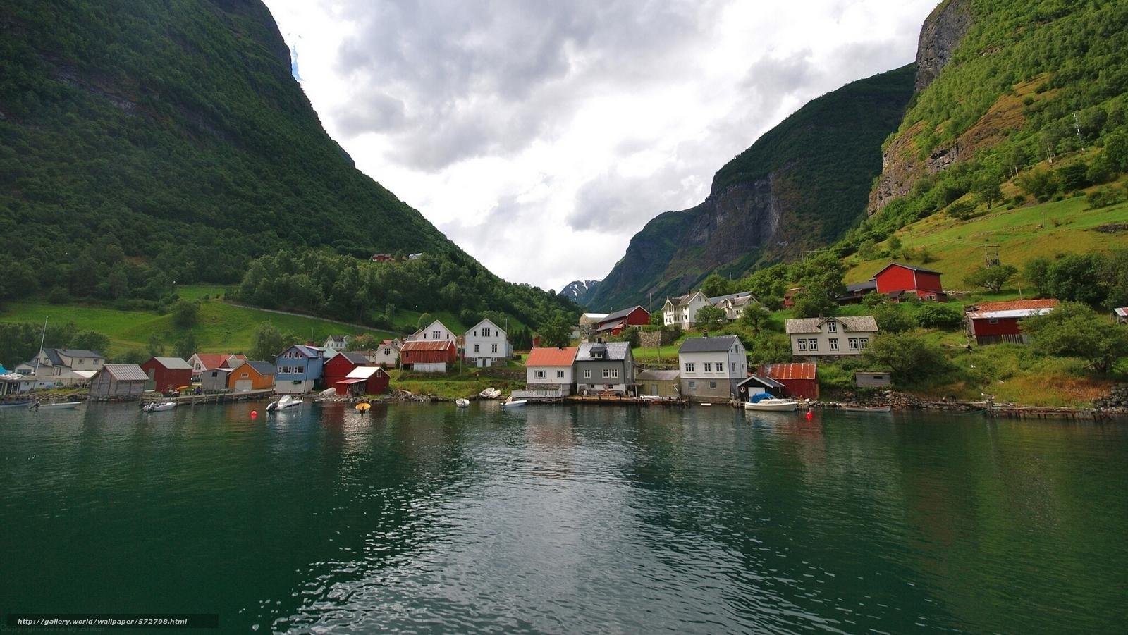 Скачать обои Норвегия,  деревня,  фьорд,  домики бесплатно для рабочего стола в разрешении 1920x1081 — картинка №572798