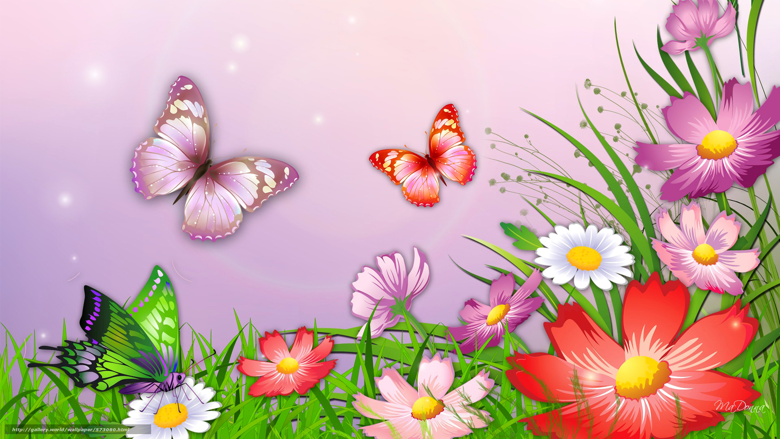 Scaricare gli sfondi natura erba fiori farfalle sfondi for Immagini farfalle per desktop