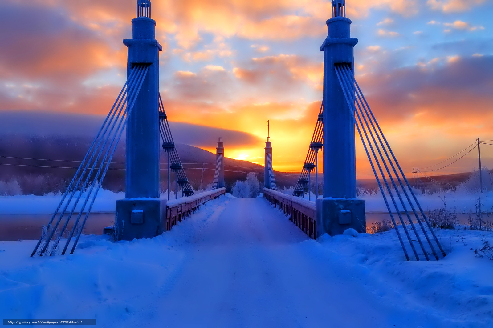 Download wallpaper sky,  clouds,  winter,  bridge free desktop wallpaper in the resolution 2048x1365 — picture №573105