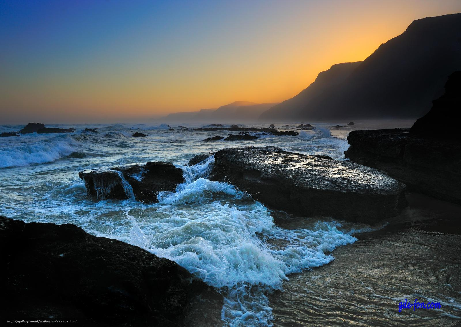 下载壁纸 日落,  海,  岩石,  景观 免费为您的桌面分辨率的壁纸 3938x2793 — 图片 №573401