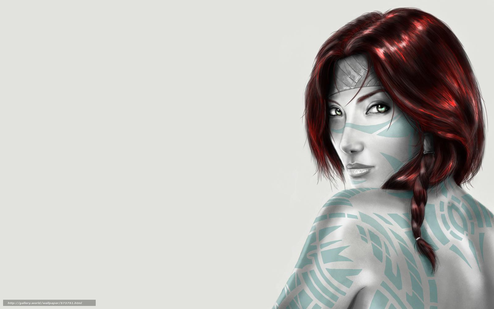 Download wallpaper red hair,  Injun,  girl,  minimalism free desktop wallpaper in the resolution 3086x1929 — picture №573751