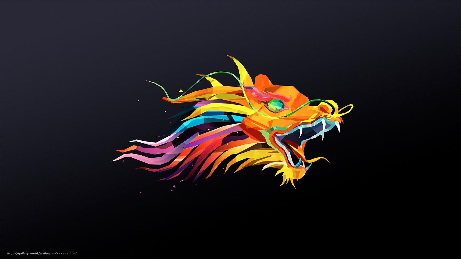 Download wallpaper dragon,  minimalism,  polygons,  head free desktop wallpaper in the resolution 2880x1620 — picture №573924