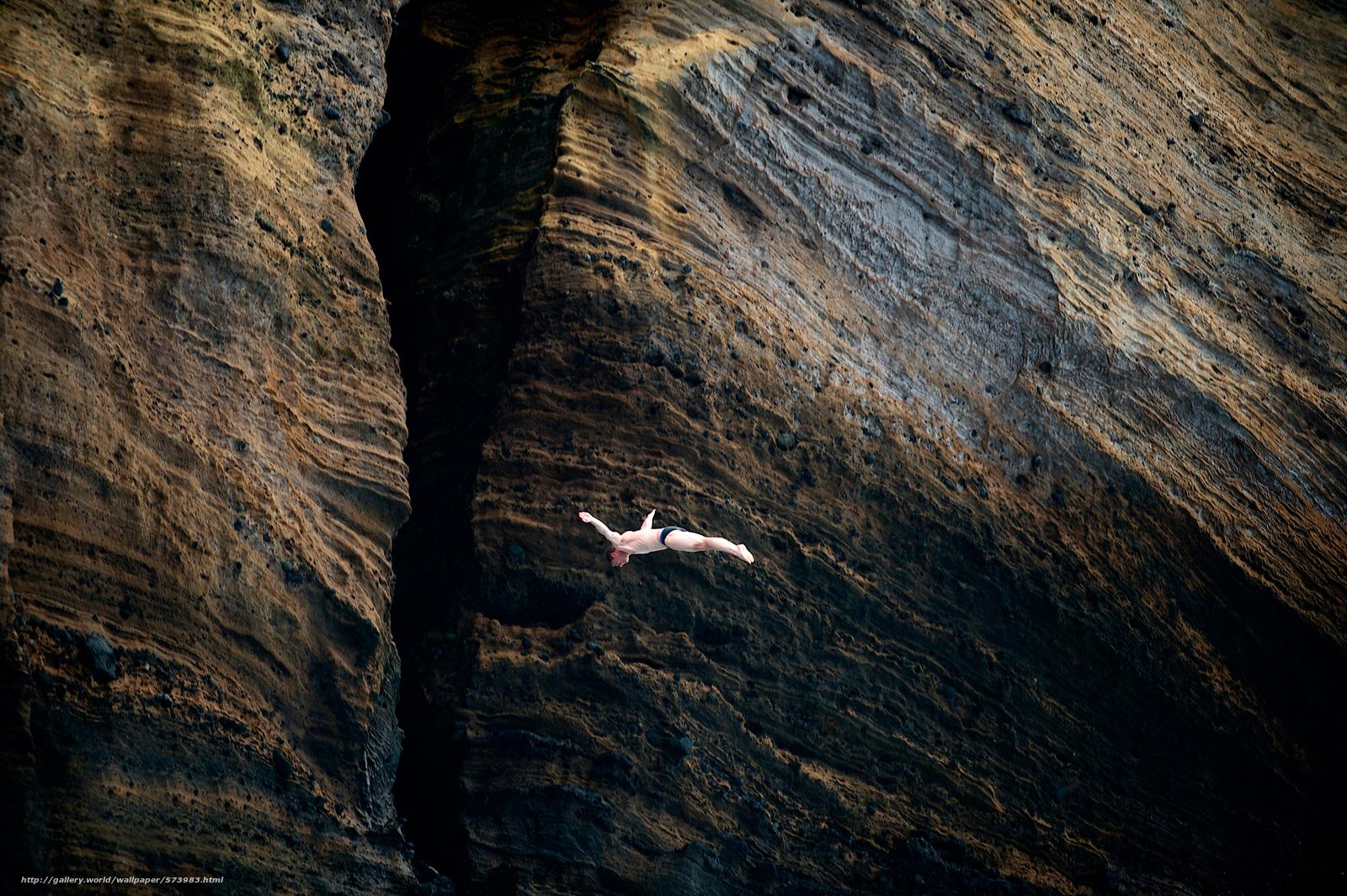 Скачать обои полёт,  скала,  мужчина,  прыжок бесплатно для рабочего стола в разрешении 2500x1664 — картинка №573983