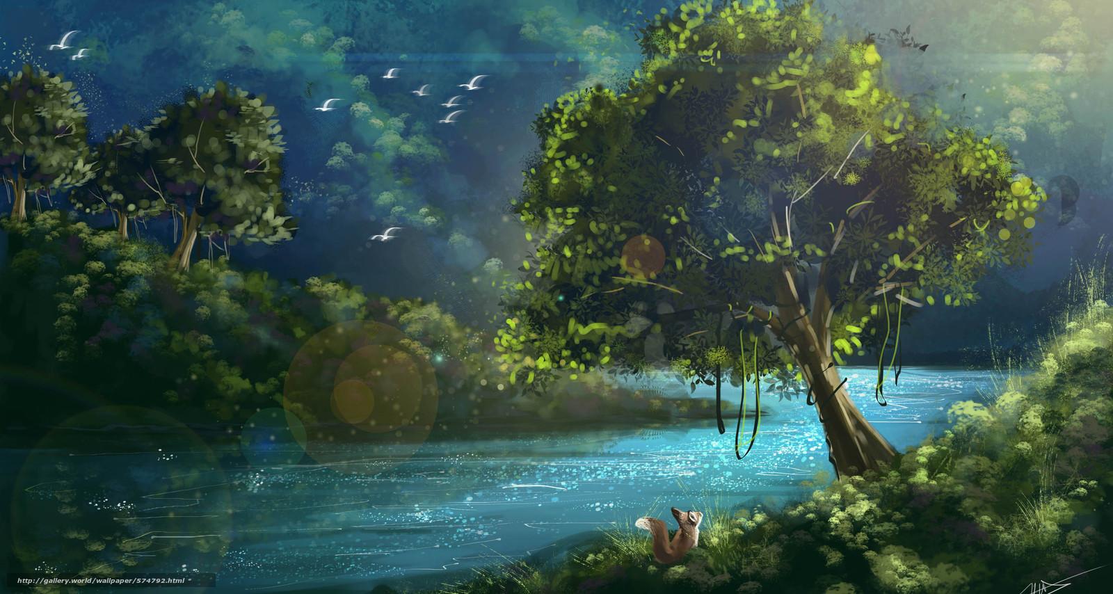 Tlcharger fond d 39 ecran paysage t art arbres fonds d for Fond ecran gratuit paysage ete