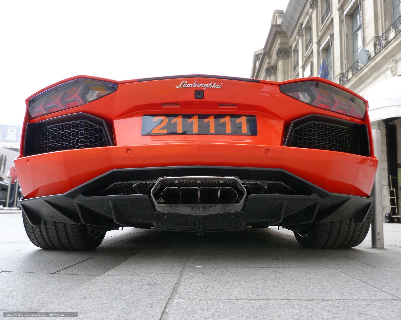 Download wallpaper Lamborghini,  exhaust pipe,  orange,  Aventador free desktop wallpaper in the resolution 3912x3128 — picture №575223