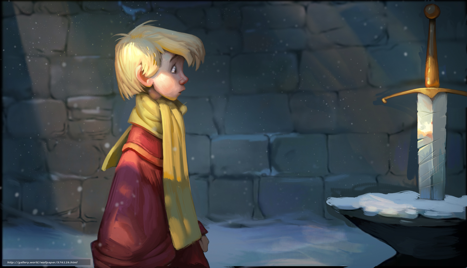 scaricare gli sfondi Cartone animato,  spada nella roccia,  Art,  ragazzo Sfondi gratis per la risoluzione del desktop 3200x1838 — immagine №576129