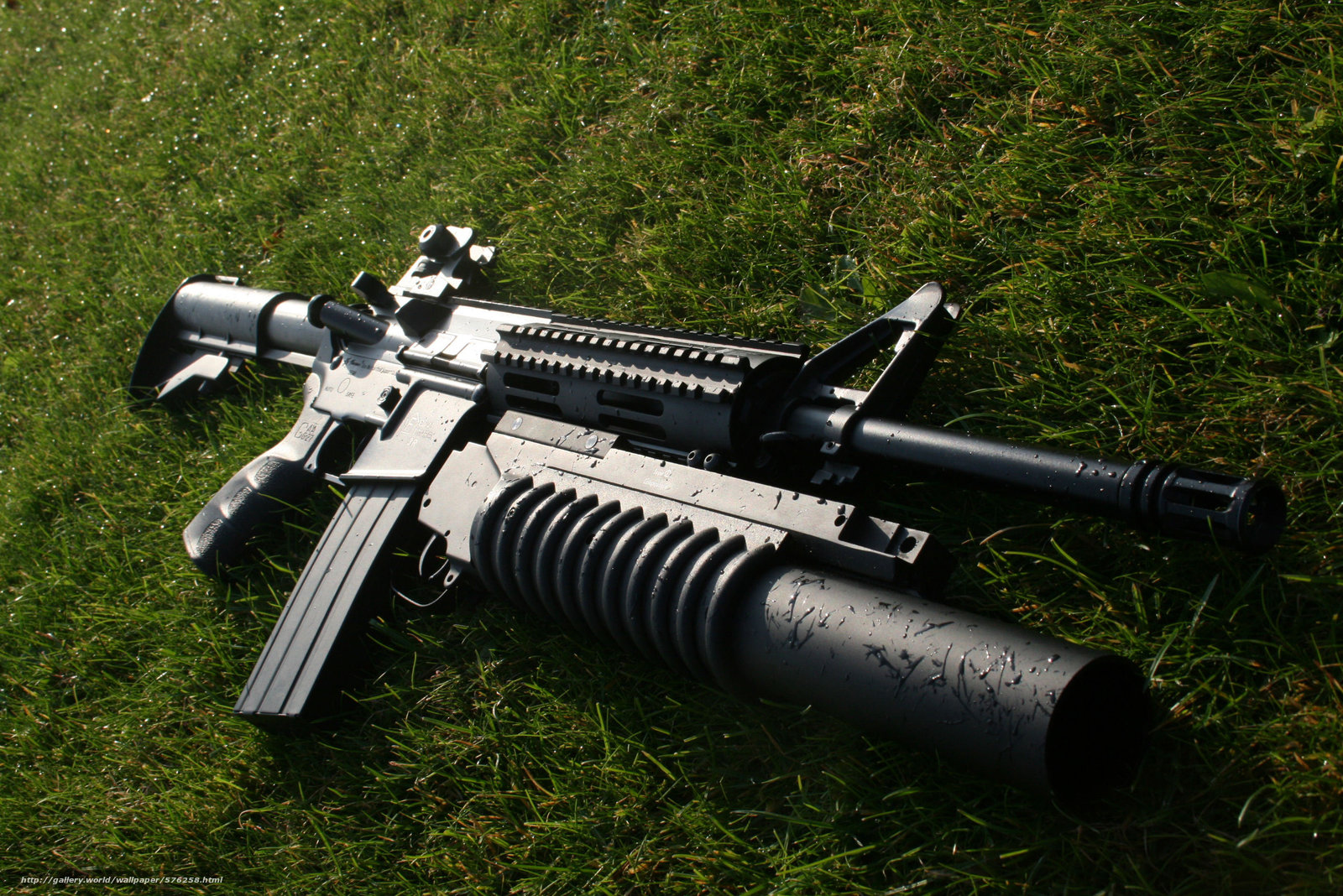 Download wallpaper Assault,  rifle,  launcher,  grass free desktop wallpaper in the resolution 2816x1880 — picture №576258