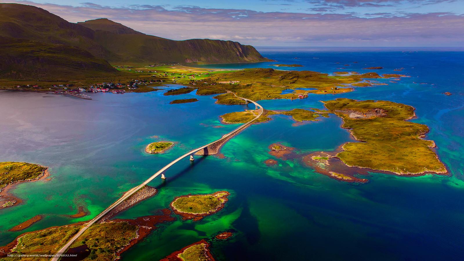 Download wallpaper Norwegian Sea,  Norway,  The Lofoten Islands,  bridge free desktop wallpaper in the resolution 1920x1080 — picture №576532